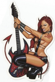 Rock Me Baby (by Scott Blair) - Sexy Pin Up with Guitar - DECAL - STICKER