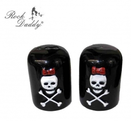 Salt and Pepper Shakers - 3D - Skull with Red Bow Design