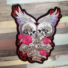 000 - BACKPATCH - LETHAL ANGEL - Winged SKULL with pink ROSES and BANNER
