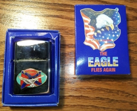 THE EAGLE FLIES AGAIN - Lighter - Keep The Eagle Flying - Oval - Rebel Flag & Flyin' Eagle