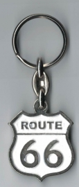 Metal Keychain - Route 66 - White