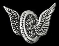 P129 - PIN - Winged Motorcycle Wheel