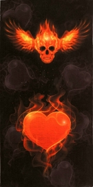 Tunnel / Tube Multi-Purpose - Black - Winged Skull and Heart on Fire - Flames