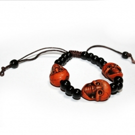 Black bracelet with Orange Faces