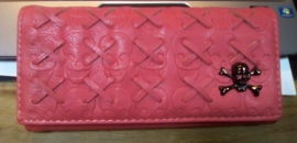 Pink/Red Wallet with Snap Button Closure - Crossed Skull Design