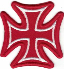 375 - PATCH - Red & White - Iron / Maltese Cross