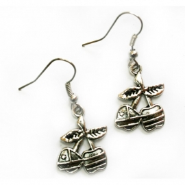 Earrings with Striped Cherries