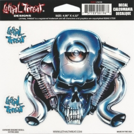 Lethal Threat - Chrome Engine Skull - DECAL - STICKER