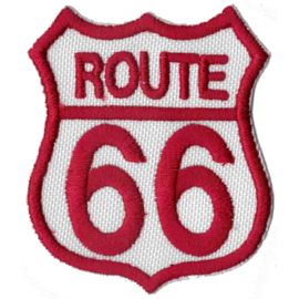 PATCH - WHITE & RED - Route 66 Shield