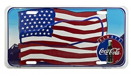 Coca-Cola - License Metal Plate / Tin Sign -  American Flag