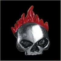 P197 - PIN - Red Flamed Skull