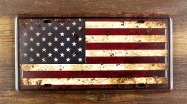 License Metal Plate / Tin Sign - 3D - Rusty / Vintage Style - USA Flag - Stars & Stripes