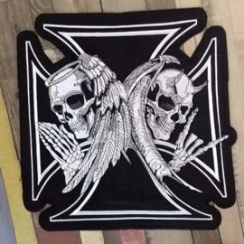 000 - BACKPATCH - Maltese Cross -  Good vs Bad - Angel vs Devil - Skeletons and wings