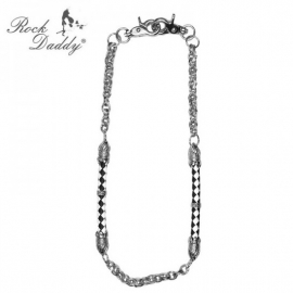 Rock Daddy - Wallet Chain - Silver-coloured Metal and Black/White Leather