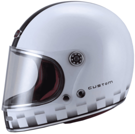 Barock - Retro Racer Full Face Helmet - White Custom - ECE22.05