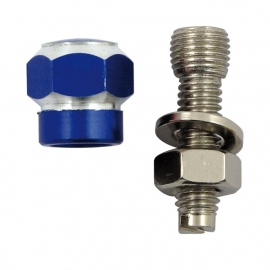 TrikTopz with License Plate Mounts - Valve Caps - Blue Alloy Twotone Hex