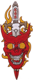 369 - large PATCH - Tattoo Oldschool - Devil with Dagger through his Head