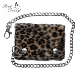 Rock Daddy - Trifold Fur Wallet with Chain - Leopard Brown