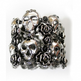 Big bracelet with Skulls & Roses