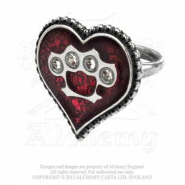 Alchemy England - RING - UL13 - TOUGH LOVE - Heart with Knuckle Duster