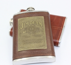 Jim Bean - FLASK - Brown Leather Look with Golden Logo - Stainless Steel - 9 oz / approx. 266ml