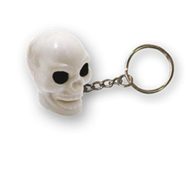TrikTopz - Keychain - White Skull with Black Eyes
