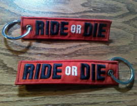 Embroided Keychain - Black, Red & White - RIDE OR DIE