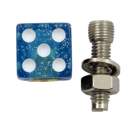 TrikTopz with License Plate Mounts - Valve Caps - Glitter Blue Dice