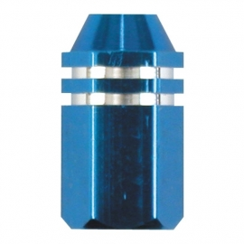 TrikTopz - Valve Caps - Blue Alloy Twotone Hex Straight