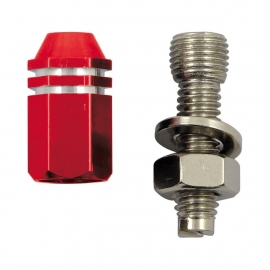 TrikTopz with License Plate Mounts - Valve Caps - Red Alloy Twotone Hex Straight