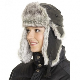 Fur and Leather Hat - Black