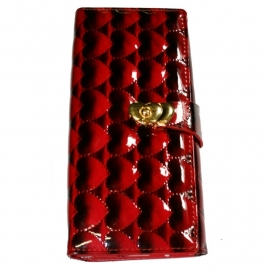 Wallet with Buckle Closure - Red/Black Heart