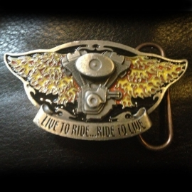 Live To Ride - Ride To Live - Winged BUCKLE [B115]