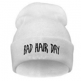Beanie / Hat - Bad Hair Day - White
