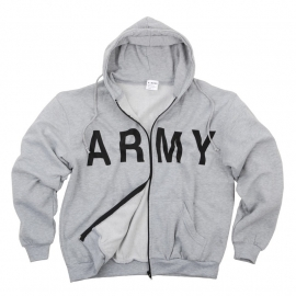 Track Jacket ARMY - Hoodie with Zipper - Grey