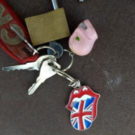 Metal Keychain - The Rolling Stones - English Tongue Logo - Union Jack