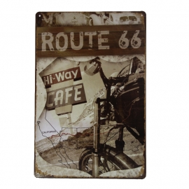Metal Plate / Tin Sign - Rusty / Vintage Look - Route 66 - Hi-Way Cafe - Motorcycle