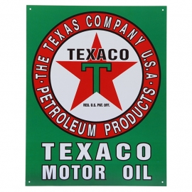 Large Metal Plate / Tin Sign - Texaco Motor Oil - The Texas Company - Petroleum Products U.S.A