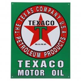 Large Metal Plate / Tin Sign - Texaco Motor Oil - The Texas Company - Petroleum Products U.S.A