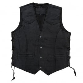 Leather Vest with Buttons and Side Laces