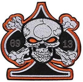 ORANGE PATCH - Ace Of Spades and skull with crossed bones 69 - 13