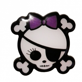 P191 - PIN - Girly Pirate Skull & Bones with Purple Bow