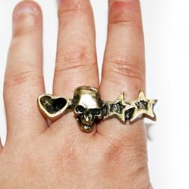 2-Fingerring with Skull/Heart/Stars