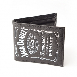 Jack Daniel's - Bifold Wallet - Black Leather - Original Big Classic Logo
