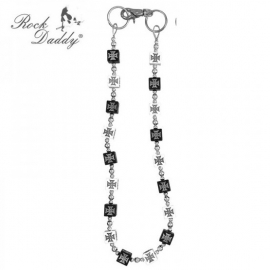 Rock Daddy - Wallet Chain with Tiny Balls - Black and White Maltese Crosses