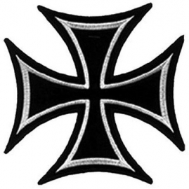 041 - medium PATCH - Iron / Maltese Cross - WHITE Lining