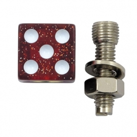 TrikTopz with License Plate Mounts - Valve Caps - Red Glitter Dice
