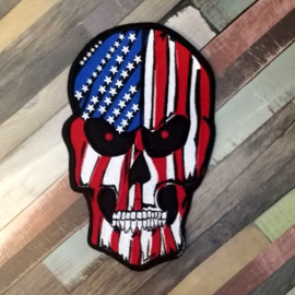 000 - BACKPATCH - American Skull - Stars and stripes - America - USA