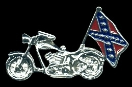 P119 - PIN - Motorcycle with Rebel Flag