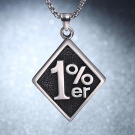 One Percenter Pendant - 1%er - Stainless Steel (medium)